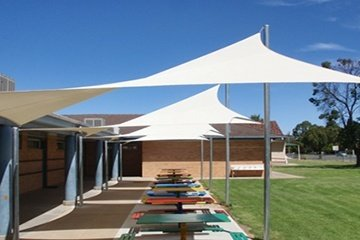 Sails providing sun protection School eating area